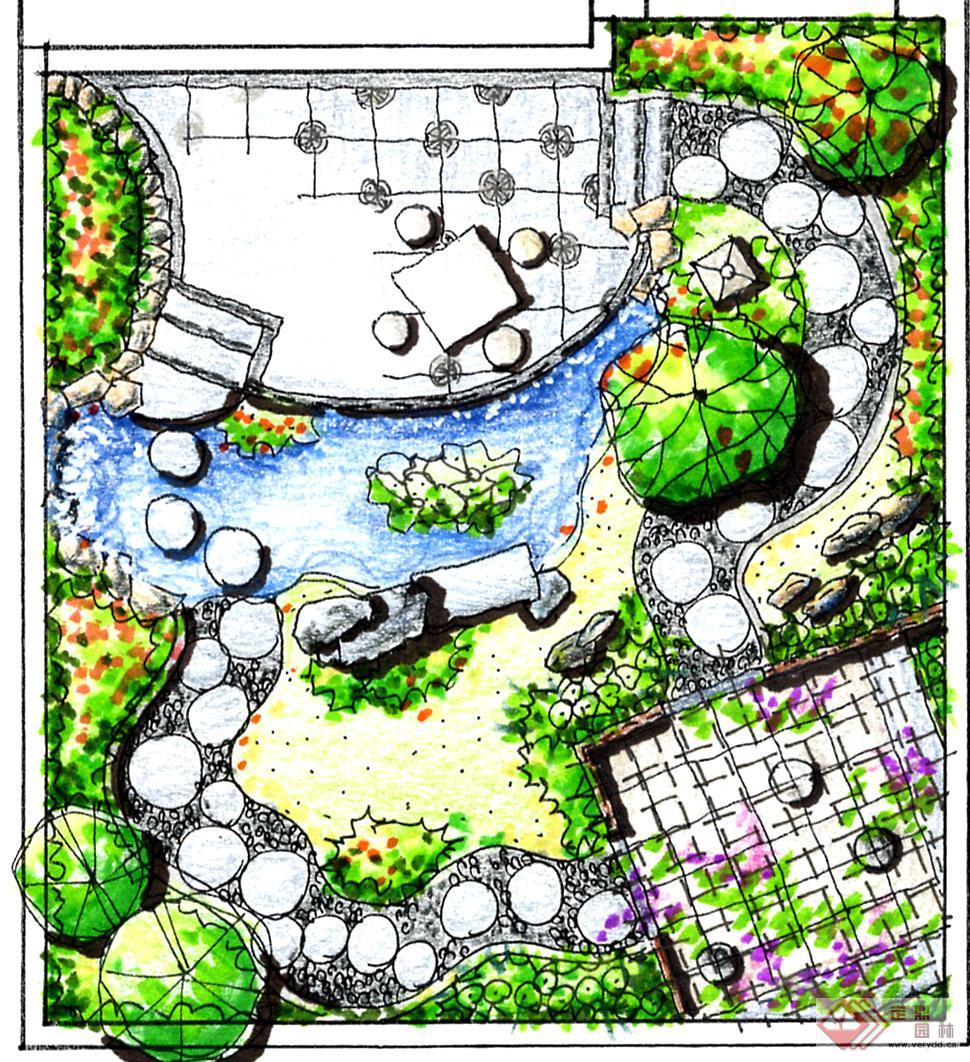 某别墅手绘平面图的下载地址,园林效果图,花园庭院,园林景观设计施工图纸