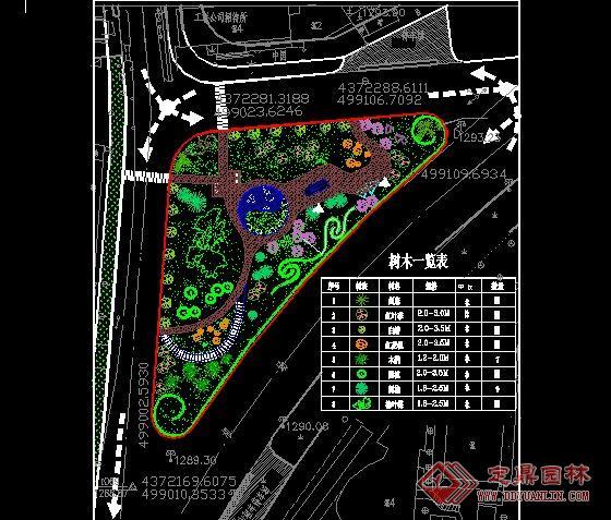 街头绿地_街头小游园绿化平面图