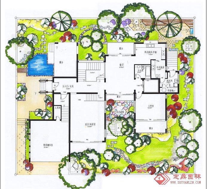 别墅平面设计图的下载地址,园林效果图,花园庭院,园林景观设计施工图纸